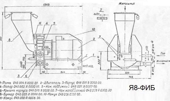 Вытопка жира, Машина для вытопки жира Я8-ФИБ, АВЖ-245